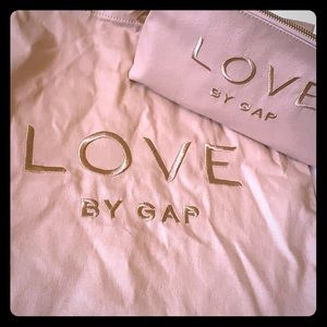 Love by Gap pink tote bag with matching makeup bag